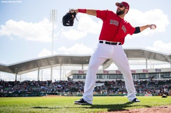 FORT MYERS, FL - FEBRUARY 24: Mitch Moreland #18 of the Boston Red Sox warms up before a game against the Tampa Bay Rays at JetBlue Park at Fenway South on February 24, 2018 in Fort Myers, Florida. (Photo by Billie Weiss/Boston Red Sox/Getty Images) *** Local Caption *** Mitch Moreland