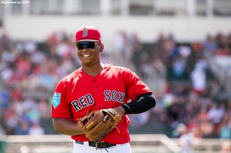 FORT MYERS, FL - FEBRUARY 24: Rafael Devers #11 of the Boston Red Sox reacts before a game against the Tampa Bay Rays at JetBlue Park at Fenway South on February 24, 2018 in Fort Myers, Florida. (Photo by Billie Weiss/Boston Red Sox/Getty Images) *** Local Caption *** Rafael Devers