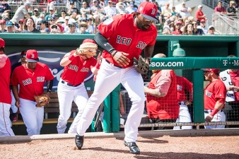 FORT MYERS, FL - FEBRUARY 24: Jackie Bradley Jr. #19 of the Boston Red Sox runs onto the field before a game against the Tampa Bay Rays at JetBlue Park at Fenway South on February 24, 2018 in Fort Myers, Florida. (Photo by Billie Weiss/Boston Red Sox/Getty Images) *** Local Caption *** Jackie Bradley Jr.