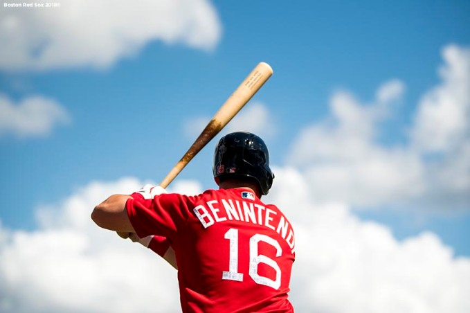 FORT MYERS, FL - FEBRUARY 24: Andrew Benintendi #16 of the Boston Red Sox warms up on deck during a game against the Tampa Bay Rays at JetBlue Park at Fenway South on February 24, 2018 in Fort Myers, Florida. (Photo by Billie Weiss/Boston Red Sox/Getty Images) *** Local Caption *** Andrew Benintendi
