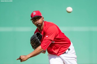 FORT MYERS, FL - FEBRUARY 24: Roenis Elias #29 of the Boston Red Sox pitches during a game against the Tampa Bay Rays at JetBlue Park at Fenway South on February 24, 2018 in Fort Myers, Florida. (Photo by Billie Weiss/Boston Red Sox/Getty Images) *** Local Caption *** Roenis Elias