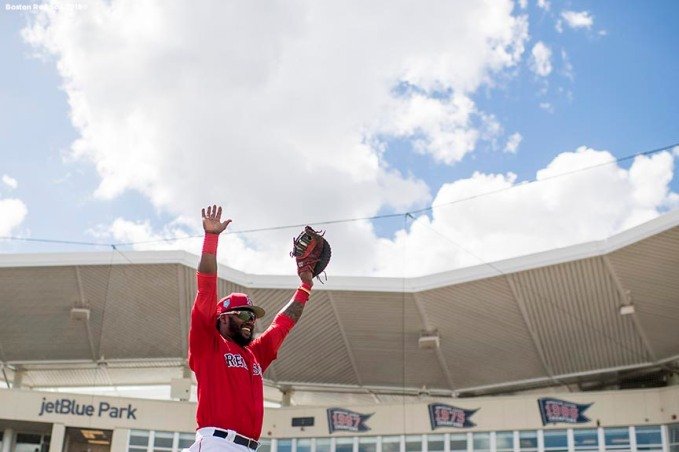 FORT MYERS, FL - FEBRUARY 25: Hanley Ramirez #13 of the Boston Red Sox reacts during a game against the Baltimore Orioles at JetBlue Park at Fenway South on February 25, 2018 in Fort Myers, Florida. (Photo by Billie Weiss/Boston Red Sox/Getty Images) *** Local Caption *** Hanley Ramirez