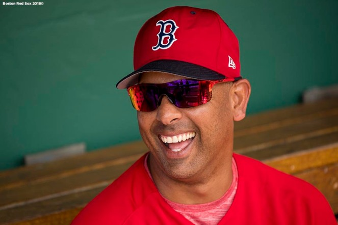 FORT MYERS, FL - FEBRUARY 25: Manager Alex Cora of the Boston Red Sox reacts during a game against the Baltimore Orioles at JetBlue Park at Fenway South on February 25, 2018 in Fort Myers, Florida. (Photo by Billie Weiss/Boston Red Sox/Getty Images) *** Local Caption *** Alex Cora