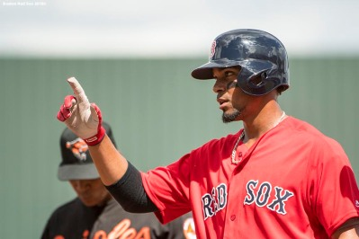 FORT MYERS, FL - FEBRUARY 25: Xander Bogaerts #2 of the Boston Red Sox reacts after a base hit during a game against the Baltimore Orioles at JetBlue Park at Fenway South on February 25, 2018 in Fort Myers, Florida. (Photo by Billie Weiss/Boston Red Sox/Getty Images) *** Local Caption *** Xander Bogaerts