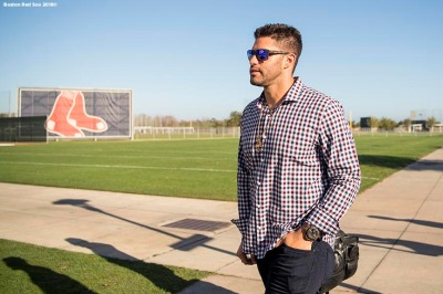 FT. MYERS, FL - FEBRUARY 26: J.D. Martinez #28 of the Boston Red Sox arrives before a press conference announcing his signing on February 26, 2018 at jetBlue Park at Fenway South in Fort Myers, Florida . (Photo by Billie Weiss/Boston Red Sox/Getty Images) *** Local Caption *** J.D. Martinez