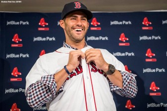 FT. MYERS, FL - FEBRUARY 26: J.D. Martinez #28 of the Boston Red Sox reacts as he puts on a hat and jersey during a press conference announcing his signing on February 26, 2018 at jetBlue Park at Fenway South in Fort Myers, Florida . (Photo by Billie Weiss/Boston Red Sox/Getty Images) *** Local Caption *** J.D. Martinez