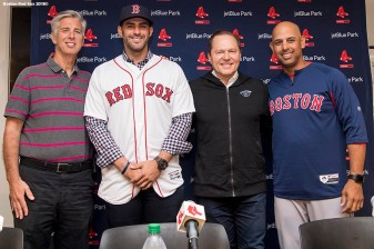 FT. MYERS, FL - FEBRUARY 26: J.D. Martinez #28 of the Boston Red Sox poses for a photograph with Boston Red Sox President of Baseball Operations Dave Dombrowski, agent Scott Boras, and manager Alex Cora during a press conference announcing his signing on February 26, 2018 at jetBlue Park at Fenway South in Fort Myers, Florida . (Photo by Billie Weiss/Boston Red Sox/Getty Images) *** Local Caption *** J.D. Martinez; Scott Boras; Alex Cora; Dave Dombrowski