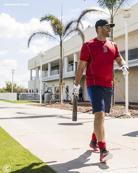 FT. MYERS, FL - FEBRUARY 26: J.D. Martinez #28 of the Boston Red Sox walks to the batting cage after a press conference announcing his signing on February 26, 2018 at jetBlue Park at Fenway South in Fort Myers, Florida . (Photo by Billie Weiss/Boston Red Sox/Getty Images) *** Local Caption *** J.D. Martinez