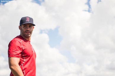FT. MYERS, FL - FEBRUARY 26: J.D. Martinez #28 of the Boston Red Sox looks on as he takes batting practice after a press conference announcing his signing on February 26, 2018 at jetBlue Park at Fenway South in Fort Myers, Florida . (Photo by Billie Weiss/Boston Red Sox/Getty Images) *** Local Caption *** J.D. Martinez