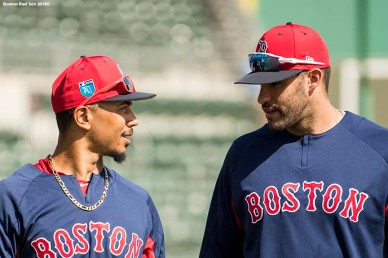 FORT MYERS, FL - FEBRUARY 27: Mookie Betts #50 of the Boston Red Sox talks with J.D. Martinez #28 before a game against the St. Louis Cardinals at JetBlue Park at Fenway South on February 27, 2018 in Fort Myers, Florida. (Photo by Billie Weiss/Boston Red Sox/Getty Images) *** Local Caption *** Mookie Betts; J.D. Martinez