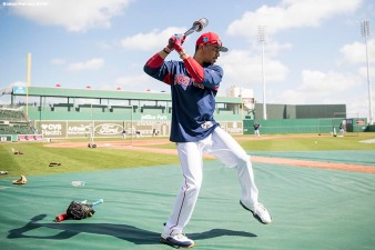 FORT MYERS, FL - FEBRUARY 27: Mookie Betts #50 of the Boston Red Sox swings during batting practice before a game against the St. Louis Cardinals at JetBlue Park at Fenway South on February 27, 2018 in Fort Myers, Florida. (Photo by Billie Weiss/Boston Red Sox/Getty Images) *** Local Caption *** Mookie Betts