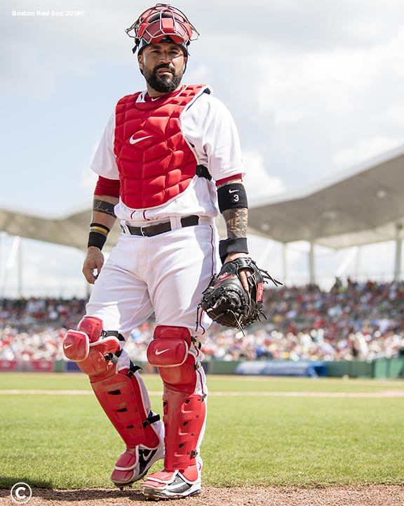 FORT MYERS, FL - FEBRUARY 27: Sandy Leon #3 of the Boston Red Sox looks on during a game against the St. Louis Cardinals at JetBlue Park at Fenway South on February 27, 2018 in Fort Myers, Florida. (Photo by Billie Weiss/Boston Red Sox/Getty Images) *** Local Caption *** Sandy Leon