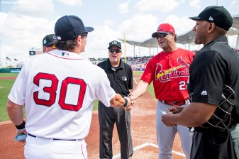 FORT MYERS, FL - FEBRUARY 27: Casey Matheny of the Boston Red Sox presents the lineup card with his father, Mike Matheny of the St. Louis Cardinals before a game against the St. Louis Cardinals at JetBlue Park at Fenway South on February 27, 2018 in Fort Myers, Florida. (Photo by Billie Weiss/Boston Red Sox/Getty Images) *** Local Caption *** Casey Matheny; Mike Matheny