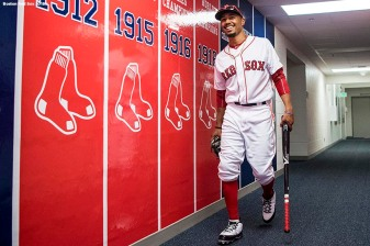 FORT MYERS, FL - FEBRUARY 27: Mookie Betts #50 of the Boston Red Sox walks through the tunnel before a game against the St. Louis Cardinals at JetBlue Park at Fenway South on February 27, 2018 in Fort Myers, Florida. (Photo by Billie Weiss/Boston Red Sox/Getty Images) *** Local Caption *** Mookie Betts