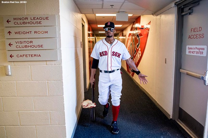 FORT MYERS, FL - FEBRUARY 27: Xander Bogaerts #2 of the Boston Red Sox walks through the tunnel before a game against the St. Louis Cardinals at JetBlue Park at Fenway South on February 27, 2018 in Fort Myers, Florida. (Photo by Billie Weiss/Boston Red Sox/Getty Images) *** Local Caption *** Xander Bogaerts