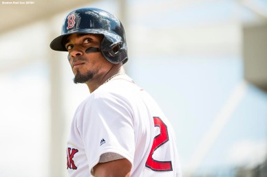 FORT MYERS, FL - FEBRUARY 27: Xander Bogaerts #2 of the Boston Red Sox looks on during a game against the St. Louis Cardinals at JetBlue Park at Fenway South on February 27, 2018 in Fort Myers, Florida. (Photo by Billie Weiss/Boston Red Sox/Getty Images) *** Local Caption *** Xander Bogaerts