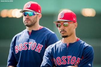 FORT MYERS, FL - FEBRUARY 28: J.D. Martinez #28 and Mookie Betts #50 of the Boston Red Sox look on before a game against the Pittsburgh Pirates at JetBlue Park at Fenway South on February 28, 2018 in Fort Myers, Florida. (Photo by Billie Weiss/Boston Red Sox/Getty Images) *** Local Caption *** Mookie Betts; J.D. Martinez