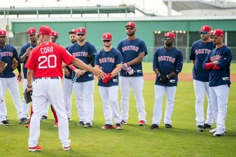 FORT MYERS, FL - FEBRUARY 28: Manager Alex Cora talks to members of the Boston Red Sox before a game against the Pittsburgh Pirates at JetBlue Park at Fenway South on February 28, 2018 in Fort Myers, Florida. (Photo by Billie Weiss/Boston Red Sox/Getty Images) *** Local Caption *** Alex Cora