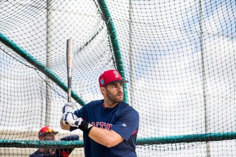 FORT MYERS, FL - FEBRUARY 28: J.D. Martinez #28 of the Boston Red Sox takes batting practice before a game against the Pittsburgh Pirates at JetBlue Park at Fenway South on February 28, 2018 in Fort Myers, Florida. (Photo by Billie Weiss/Boston Red Sox/Getty Images) *** Local Caption *** J.D. Martinez