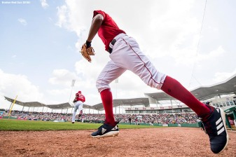 FORT MYERS, FL - FEBRUARY 28: Xander Bogaerts #2 of the Boston Red Sox runs onto the field before a game against the Pittsburgh Pirates at JetBlue Park at Fenway South on February 28, 2018 in Fort Myers, Florida. (Photo by Billie Weiss/Boston Red Sox/Getty Images) *** Local Caption *** Xander Bogaerts