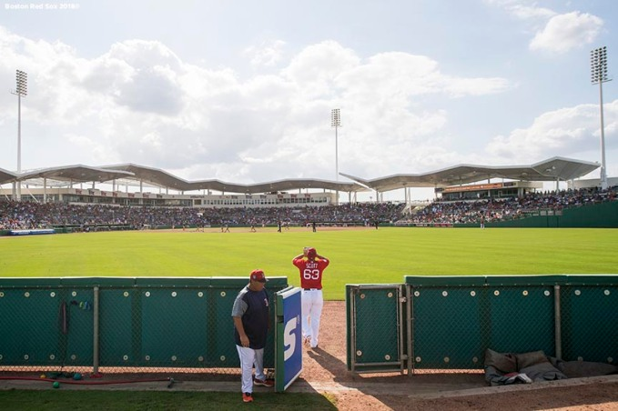 FORT MYERS, FL - FEBRUARY 28: Robby Scott #63 of the Boston Red Sox exits the bullpen during a game against the Pittsburgh Pirates at JetBlue Park at Fenway South on February 28, 2018 in Fort Myers, Florida. (Photo by Billie Weiss/Boston Red Sox/Getty Images) *** Local Caption *** Robby Scott
