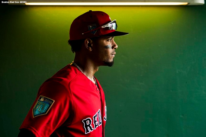 FORT MYERS, FL - FEBRUARY 28: Xander Bogaerts #2 of the Boston Red Sox walks through the tunnel before a game against the Pittsburgh Pirates at JetBlue Park at Fenway South on February 28, 2018 in Fort Myers, Florida. (Photo by Billie Weiss/Boston Red Sox/Getty Images) *** Local Caption *** Xander Bogaerts