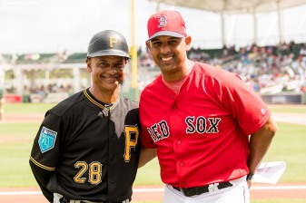 FORT MYERS, FL - FEBRUARY 28: Manager Alex Cora of the Boston Red Sox poses with his brother Joey Cora, third base coach of the Pittsburgh Pirates, before a game at JetBlue Park at Fenway South on February 28, 2018 in Fort Myers, Florida. (Photo by Billie Weiss/Boston Red Sox/Getty Images) *** Local Caption *** Alex Cora; Joey Cora