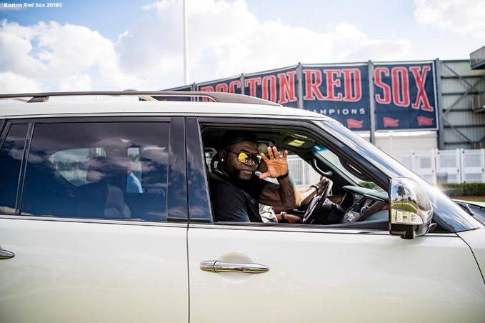 FORT MYERS, FL - FEBRUARY 28: Former designated hitter David Ortiz of the Boston Red Sox waves as he rides in a car after a game against the Pittsburgh Pirates at JetBlue Park at Fenway South on February 28, 2018 in Fort Myers, Florida. (Photo by Billie Weiss/Boston Red Sox/Getty Images) *** Local Caption *** David Ortiz