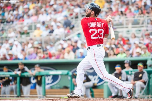 FORT MYERS, FL - FEBRUARY 28: Blake Swihart #23 of the Boston Red Sox bats during a game against the Pittsburgh Pirates at JetBlue Park at Fenway South on February 28, 2018 in Fort Myers, Florida. (Photo by Billie Weiss/Boston Red Sox/Getty Images) *** Local Caption *** Blake Swihart
