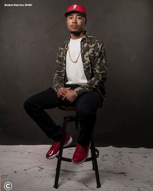 FT. MYERS, FL - MARCH 2: Mookie Betts #50 of the Boston Red Sox poses for a portrait on March 2, 2018 at Fenway South in Fort Myers, Florida . (Photo by Billie Weiss/Boston Red Sox/Getty Images) *** Local Caption *** Mookie Betts