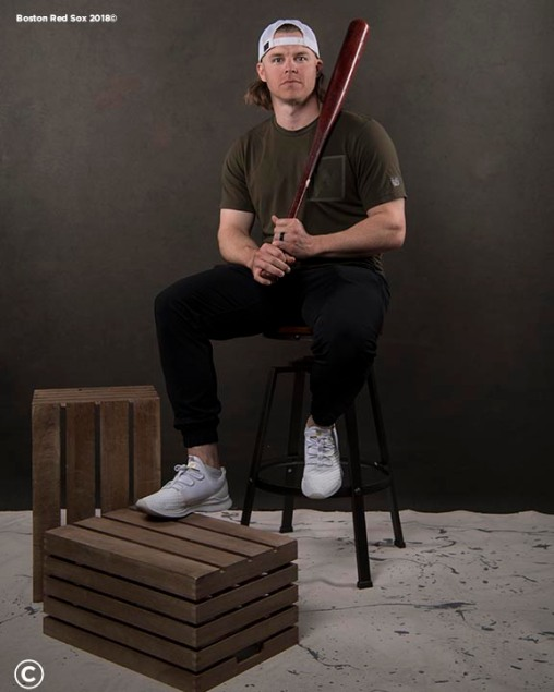 FT. MYERS, FL - MARCH 2: Brock Holt #12 of the Boston Red Sox poses for a portrait on March 2, 2018 at Fenway South in Fort Myers, Florida . (Photo by Billie Weiss/Boston Red Sox/Getty Images) *** Local Caption *** Brock Holt