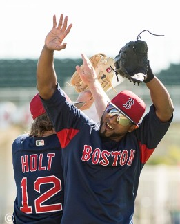 FT. MYERS, FL - MARCH 4: Eduardo Nunez #36 and Brock Holt #12 of the Boston Red Sox high five during a team workout on March 4, 2018 at Fenway South in Fort Myers, Florida . (Photo by Billie Weiss/Boston Red Sox/Getty Images) *** Local Caption *** Eduardo Nunez; Brock Holt