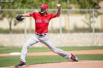 FT. MYERS, FL - MARCH 4: Chris Sale #41 of the Boston Red Sox pitches in a simulated game during a team workout on March 4, 2018 at Fenway South in Fort Myers, Florida . (Photo by Billie Weiss/Boston Red Sox/Getty Images) *** Local Caption *** Chris Sale