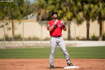 FT. MYERS, FL - MARCH 4: J.D. Martinez #28 of the Boston Red Sox reacts after hitting a double in a simulated game during a team workout on March 4, 2018 at Fenway South in Fort Myers, Florida . (Photo by Billie Weiss/Boston Red Sox/Getty Images) *** Local Caption *** J.D. Martinez