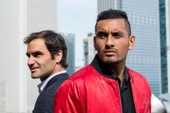 """Tennis players Roger Federer and Nick Kyrgios pose for a portrait during a Laver Cup promotional event in Chicago, Illinois Monday, March 19, 2018."""