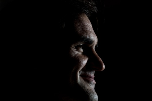 """Roger Federer looks on during a press conference during a Laver Cup promotional event in Chicago, Illinois Monday, March 19, 2018."""