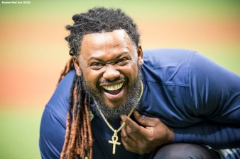 ST. PETERSBURG, FL - MARCH 28: Hanley Ramirez #13 of the Boston Red Sox reacts during a team workout before Opening Day on March 28, 2018 at Tropicana Field in St. Petersburg, Florida . (Photo by Billie Weiss/Boston Red Sox/Getty Images) *** Local Caption *** Hanley Ramirez