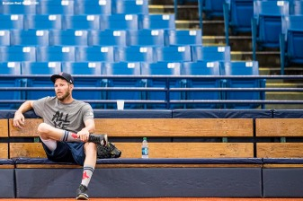 ST. PETERSBURG, FL - MARCH 28: Chris Sale #41 of the Boston Red Sox looks on during a team workout before Opening Day on March 28, 2018 at Tropicana Field in St. Petersburg, Florida . (Photo by Billie Weiss/Boston Red Sox/Getty Images) *** Local Caption *** Chris Sale