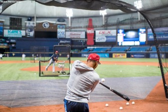 ST. PETERSBURG, FL - MARCH 28: Mookie Betts #50 of the Boston Red Sox takes batting practice during a team workout before Opening Day on March 28, 2018 at Tropicana Field in St. Petersburg, Florida . (Photo by Billie Weiss/Boston Red Sox/Getty Images) *** Local Caption *** Mookie Betts