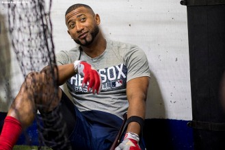 ST. PETERSBURG, FL - MARCH 29: Eduardo Nunez #36 of the Boston Red Sox reacts in the batting cage before the Opening Day game against the Tampa Bay Rays on March 29, 2018 at Tropicana Field in St. Petersburg, Florida . (Photo by Billie Weiss/Boston Red Sox/Getty Images) *** Local Caption *** Eduardo Nunez