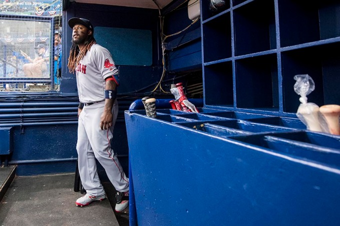 ST. PETERSBURG, FL - MARCH 29: Hanley Ramirez #13 of the Boston Red Sox enters the dugout before the Opening Day game against the Tampa Bay Rays on March 29, 2018 at Tropicana Field in St. Petersburg, Florida . (Photo by Billie Weiss/Boston Red Sox/Getty Images) *** Local Caption *** Hanley Ramirez