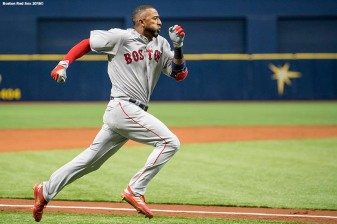 ST. PETERSBURG, FL - MARCH 29: Eduardo Nunez #6 of the Boston Red Sox rounds third base as he hits an inside the park home run during the second inning of the Opening Day game against the Tampa Bay Rays on March 29, 2018 at Tropicana Field in St. Petersburg, Florida . (Photo by Billie Weiss/Boston Red Sox/Getty Images) *** Local Caption *** Eduardo Nunez
