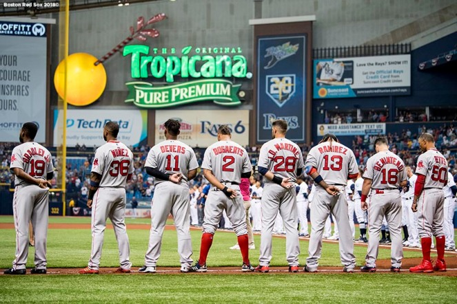 ST. PETERSBURG, FL - MARCH 29: The starting lineup of the Boston Red Sox is introduced before the Opening Day game against the Tampa Bay Rays on March 29, 2018 at Tropicana Field in St. Petersburg, Florida . (Photo by Billie Weiss/Boston Red Sox/Getty Images) *** Local Caption ***