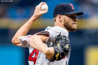 ST. PETERSBURG, FL - MARCH 29: Chris Sale #41 of the Boston Red Sox delivers during the first inning of the Opening Day game against the Tampa Bay Rays on March 29, 2018 at Tropicana Field in St. Petersburg, Florida . (Photo by Billie Weiss/Boston Red Sox/Getty Images) *** Local Caption *** Chris Sale