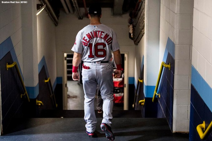 ST. PETERSBURG, FL - MARCH 29: Andrew Benintendi #16 of the Boston Red Sox walks through the tunnel before the Opening Day game against the Tampa Bay Rays on March 29, 2018 at Tropicana Field in St. Petersburg, Florida . (Photo by Billie Weiss/Boston Red Sox/Getty Images) *** Local Caption *** Andrew Benintendi