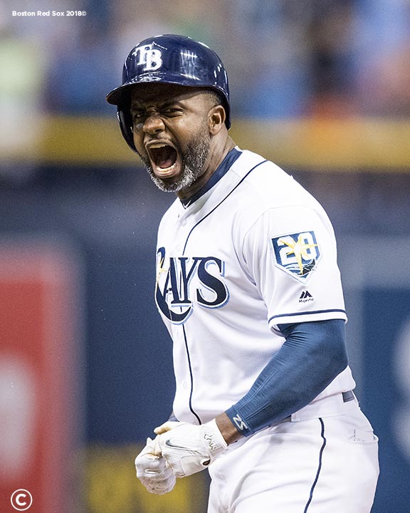ST. PETERSBURG, FL - MARCH 29: Denard Span #2 of the Tampa Bay Rays reacts after hitting a go ahead triple during the eighth inning of the Opening Day game against the Boston Red Sox on March 29, 2018 at Tropicana Field in St. Petersburg, Florida . (Photo by Billie Weiss/Boston Red Sox/Getty Images) *** Local Caption *** Denard Span