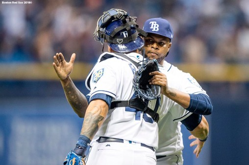 ST. PETERSBURG, FL - MARCH 29: Alex Colome #37 of the Tampa Bay Rays celebrates a victory with Wilson Ramos #40 in the Opening Day game against the Boston Red Sox on March 29, 2018 at Tropicana Field in St. Petersburg, Florida . (Photo by Billie Weiss/Boston Red Sox/Getty Images) *** Local Caption *** Alex Colome; Wilson Ramos