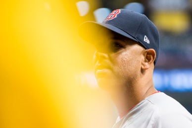 ST. PETERSBURG, FL - MARCH 29: Manager Alex Cora of the Boston Red Sox looks on during the eighth inning of the Opening Day game against the Tampa Bay Rays on March 29, 2018 at Tropicana Field in St. Petersburg, Florida . (Photo by Billie Weiss/Boston Red Sox/Getty Images) *** Local Caption *** Alex Cora