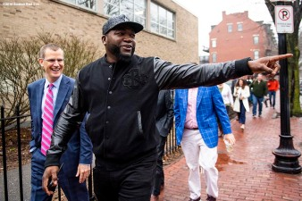 BOSTON, MA - APRIL 4: Boston Red Sox President & CEO Sam Kennedy and former designated hitter David Ortiz arrive during a hat donation event at the Hurley School on April 4, 2018 in Boston, Massachusetts. (Photo by Billie Weiss/Boston Red Sox/Getty Images) *** Local Caption *** David Ortiz; Sam Kennedy