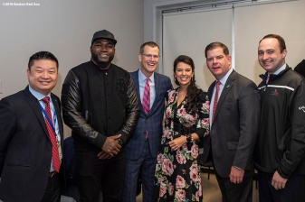 BOSTON, MA - APRIL 4: Former Boston Red Sox designated hitter David Ortiz poses for a photograph with Boston Public Schools Superintendent Tommy Chang, Boston Red Sox President & CEO Sam Kennedy, Red Sox Foundation Board Member Linda Pizzuti Henry, and Boston Mayor Marty Walshduring a hat donation event at the Hurley School on April 4, 2018 in Boston, Massachusetts. (Photo by Billie Weiss/Boston Red Sox/Getty Images) *** Local Caption *** David Ortiz; Marjorie Soto; Tommy Chang; Linda Pizzuti Henry, Marty Walsh